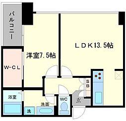 アステリオ北堀江ザ・メトロタワー 17階1LDKの間取り