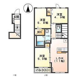 JR久大本線 筑後大石駅 徒歩5分の賃貸アパート 2階3LDKの間取り