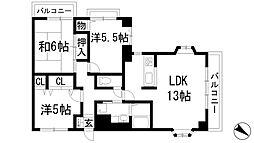 兵庫県宝塚市川面6丁目の賃貸マンションの間取り