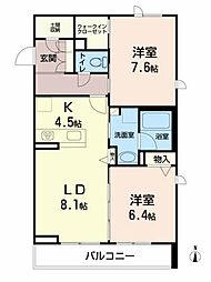 ベレオ愛子中央 2階2LDKの間取り