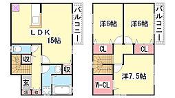 [テラスハウス] 兵庫県神戸市北区谷上西町 の賃貸【兵庫県 / 神戸市北区】の間取り