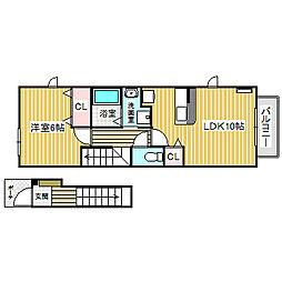 愛知県名古屋市中川区丸米町1の賃貸アパートの間取り