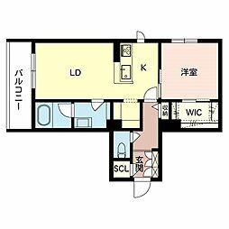 (仮称)八尾市シャーメゾン恩智北町3丁目計画 2階1LDKの間取り