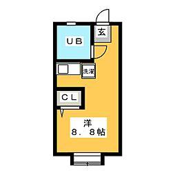 一麦社アパートメント 2階ワンルームの間取り