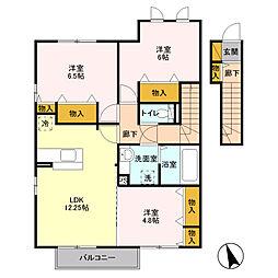 栃木県小山市犬塚5丁目の賃貸アパートの間取り