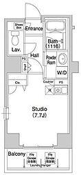 東京メトロ日比谷線 八丁堀駅 徒歩2分の賃貸マンション 2階ワンルームの間取り