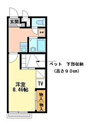 兵庫県姫路市上手野の賃貸アパートの間取り