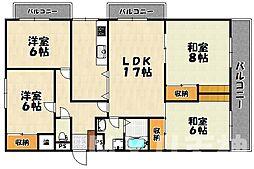福岡県福岡市中央区小笹2丁目の賃貸マンションの間取り
