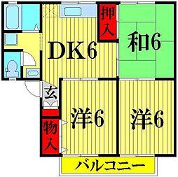 埼玉県越谷市蒲生3の賃貸アパートの間取り