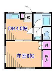 神奈川県横浜市港北区高田町の賃貸アパートの間取り
