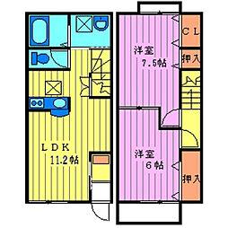 埼玉県日高市楡木の賃貸アパートの間取り
