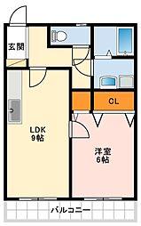 サザンテラスタカセ 1階1LDKの間取り