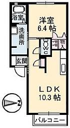 広島県三原市皆実6丁目の賃貸アパートの間取り