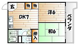 片野ハイツ[5階]の間取り