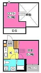 埼玉県所沢市美原町1丁目の賃貸アパートの間取り