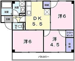 兵庫県姫路市北原の賃貸マンションの間取り