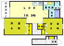 シーサイドコムB[2階]の間取り