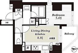 JR山手線 上野駅 徒歩12分の賃貸マンション 3階1LDKの間取り