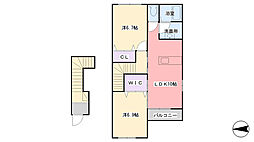 兵庫県三木市宿原字新田山の賃貸アパートの間取り