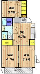 東京都日野市大字新井の賃貸アパートの間取り