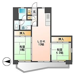 中駒九番団地8号棟[5階]の間取り