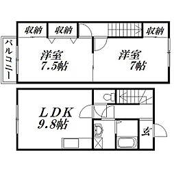 [テラスハウス] 静岡県浜松市浜北区宮口 の賃貸【/】の間取り