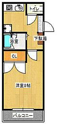 エスパシオ澤田[206号室]の間取り