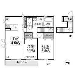 (仮)D-room東浅川[2階]の間取り