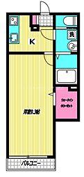 西武新宿線 田無駅 徒歩8分の賃貸アパート 1階1Kの間取り