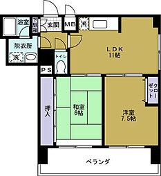 シャトー弁天弐番館[6階]の間取り