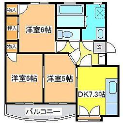 広島県東広島市八本松南2丁目の賃貸マンションの間取り