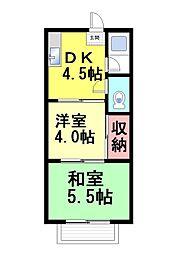 コーポヤワタ[201号室]の間取り