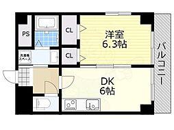 阪急宝塚本線 池田駅 徒歩2分の賃貸マンション 5階1DKの間取り