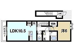 近鉄天理線 天理駅 徒歩14分の賃貸アパート 2階1LDKの間取り