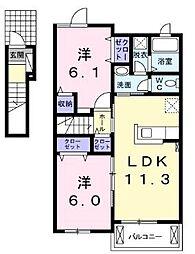 JR土讃線 金蔵寺駅 徒歩30分の賃貸アパート 2階2LDKの間取り