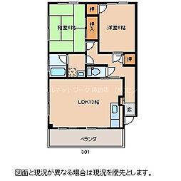 長野県諏訪市大字中洲中金子の賃貸アパートの間取り