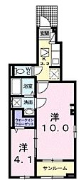 卯の里3丁目アパート 1階1SKの間取り
