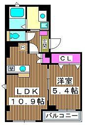メルシーペール 3階1LDKの間取り