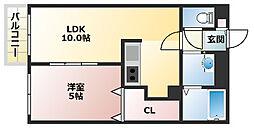 プレミールグレイス 3階1LDKの間取り