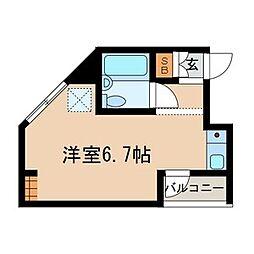 JR中央本線 東小金井駅 徒歩2分の賃貸マンション 1階ワンルームの間取り