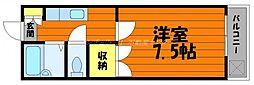 岡山県倉敷市下庄の賃貸アパートの間取り