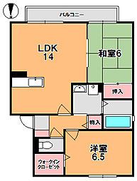 奈良県奈良市南紀寺町2丁目の賃貸アパートの間取り