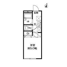 京王線 笹塚駅 徒歩4分の賃貸アパート 2階1Kの間取り