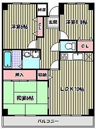 大阪府富田林市津々山台5丁目の賃貸マンションの間取り