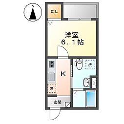 N&A home上飯田 3階1Kの間取り