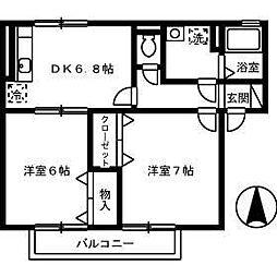 セジュール永木II[201T号室]の間取り