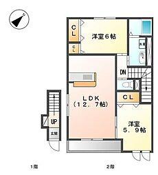 愛知県名古屋市守山区桔梗平2丁目の賃貸アパートの間取り