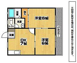 福岡県北九州市小倉北区中井3丁目の賃貸アパートの間取り