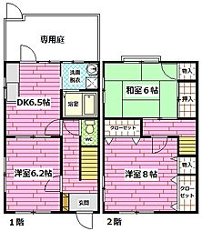 [テラスハウス] 広島県広島市安芸区矢野西4丁目 の賃貸【/】の間取り