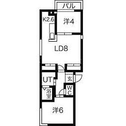 北海道札幌市豊平区豊平八条9丁目の賃貸マンションの間取り